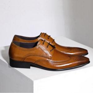 Giày tây nam da bò màu nâu đẹp M166