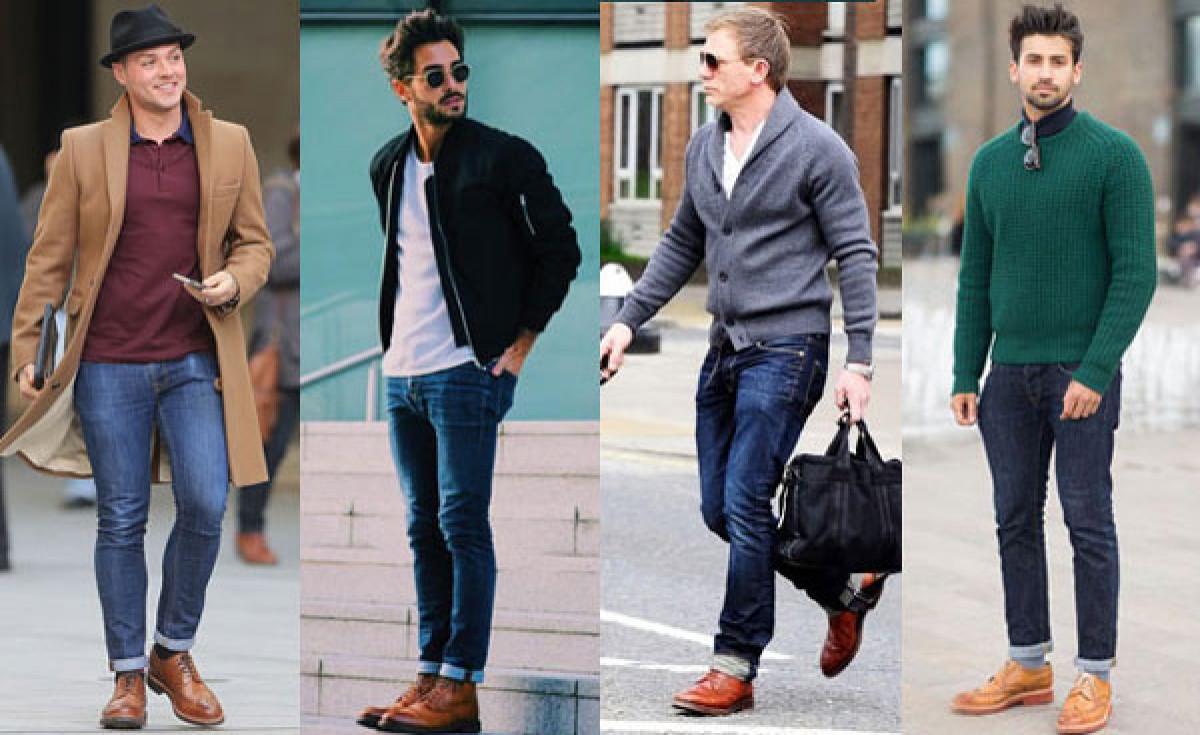 Giày tây nam kết hợp quần jean