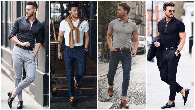 cách kết hợp quần jean với giày lười