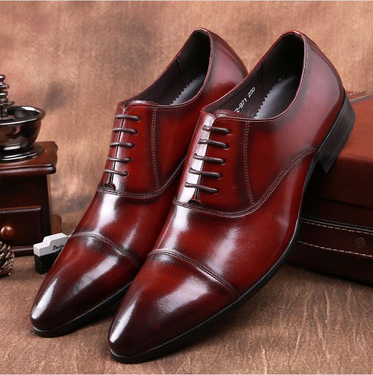 giày tây nam công sở mũi nhọn màu nâu đẹp