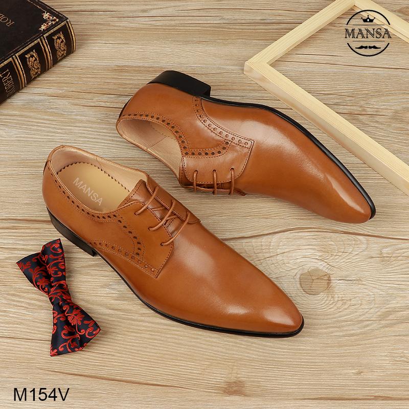 giày nam buộc dây màu vàng